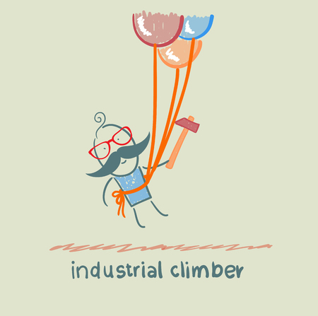 safety harness: industrial climber flies on the balloons with a hammer