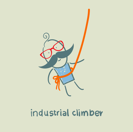 safety harness: industrial climber hanging on a rope