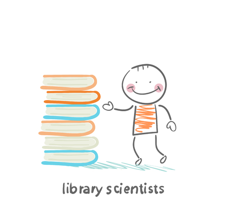 Library of scientists standing near books Illustration