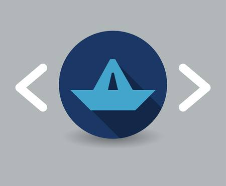 water stream: paper boat icon