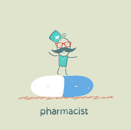 druggist: pharmacist is on a large tablet