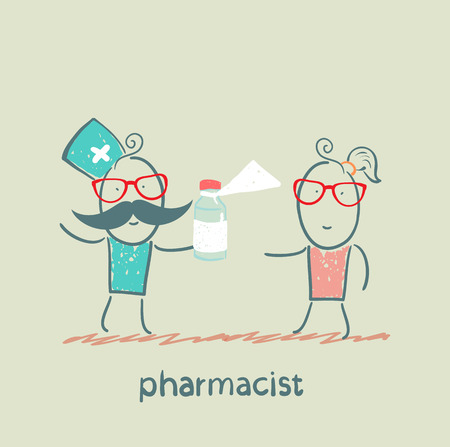 pharmacist giving medicine to the patient Иллюстрация