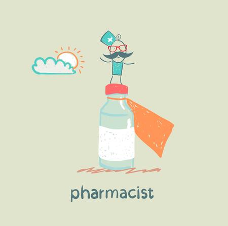 pharmacist is on a big pot of medicines Иллюстрация