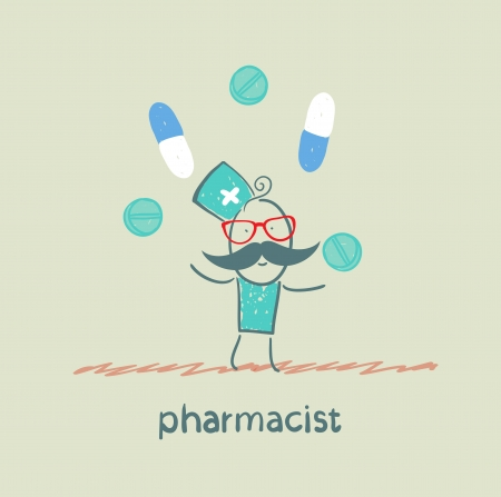 juggles: pharmacist juggles tablets and capsules Illustration