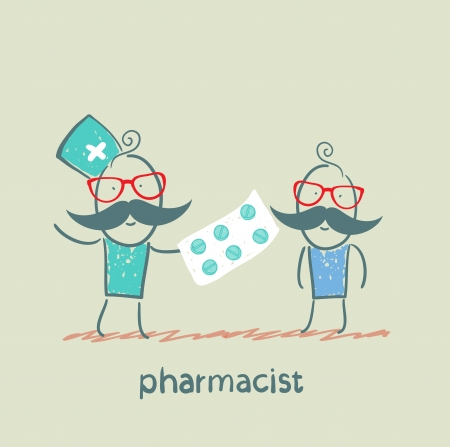 druggist: pharmacist gives the patient a tablet