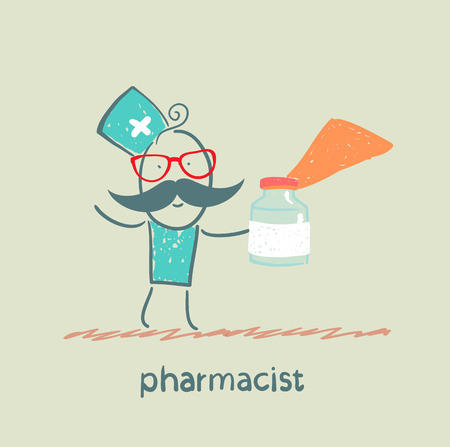 chemists: pharmacist holds a bottle with medicine
