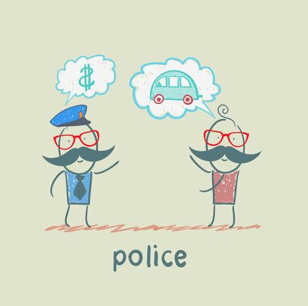 stola: Police h�ren Menschen, die das Auto gestohlen Illustration