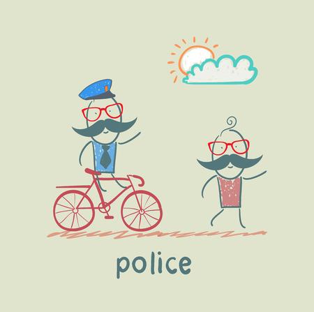 criminal: Police riding a bike for a criminal