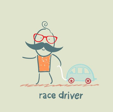 race winner:  driver  race car with a toy car