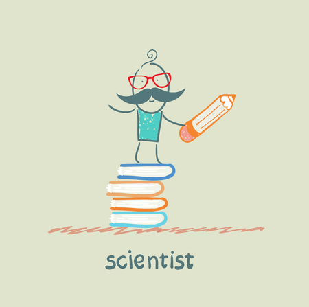 scientist holding a pencil and stands on a pile of books
