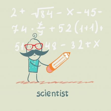 lab technician: scientist holding pen writes equation Illustration