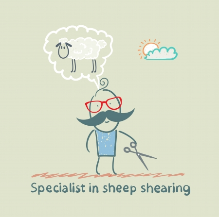 expert thinks about how to shear sheep Çizim