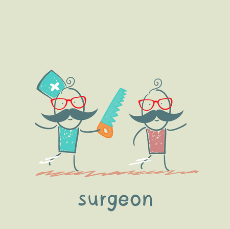 surgeon runs a chain saw for the patient