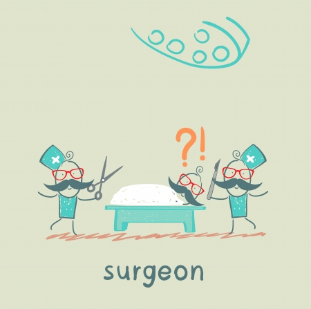 surgeon operating: surgeon holding a scalpel and scissors and stands near the patient, who is lying on the operating table Illustration