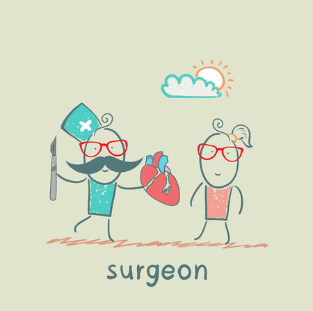 surgeon holding a scalpel and a heart patient Vector