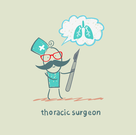 thoracic surgeon holding a scalpel and thinks of the lungs