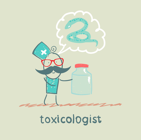toxicologist says the snake and keeps medications Stock Vector - 23712781