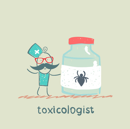 Toxicologist holds a jar of medicine from poison spiders Stock Vector - 23712782