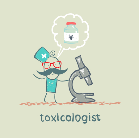 antidote: Toxicologist looking through a microscope and thinks about the antidote to spiders Illustration