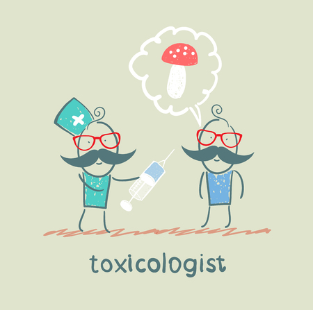 poisoned: toxicologist makes the patient an injection, which has poisoned mushrooms Illustration