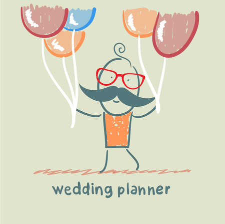 wedding planner with helium balloons Illustration