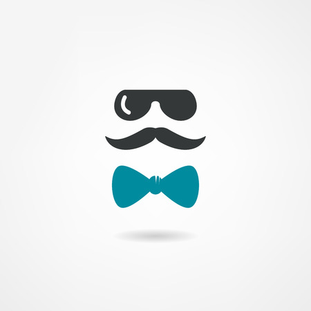 sideburn: Glasses, mustache and a bow tie