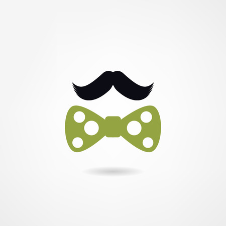 mustache and a bow tie Vector