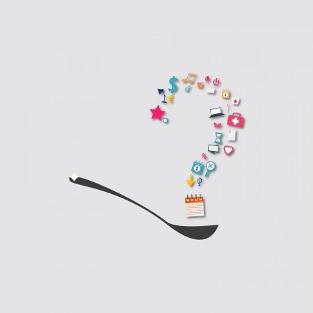 question mark on a spoon icon Vector