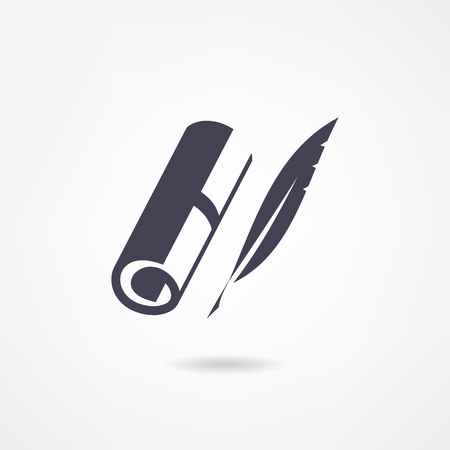 quill pen: Blank  scroll and quill pen on white background