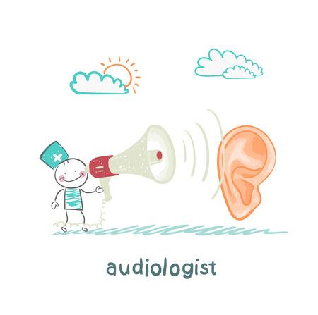 otorrinolaringólogo le grita en un megáfono en el paciente Logos