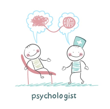 psychologist says to the patient, and solves problems Çizim