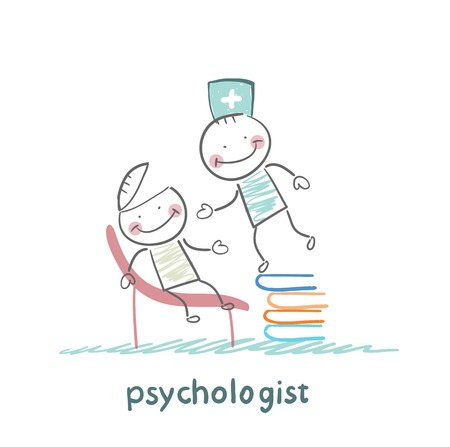 psychologist is on a stack of books and looks inside the patients head Illustration