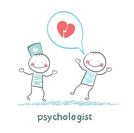 mental work: psychologist is listening to the patient, who speaks of love Illustration