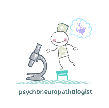 nerve cells: psychoneuropathologist  looking through a microscope and thinks of nerve cells