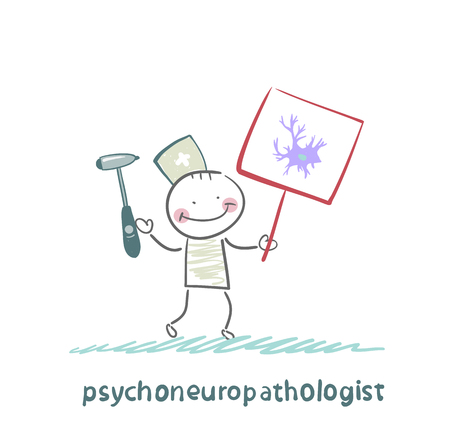 reflex: psychoneuropathologist  is drawn with a poster where the nerve cell Illustration