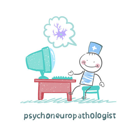nerve cells: psychoneuropathologist  sits on the workplace at the computer and thinking of nerve cells