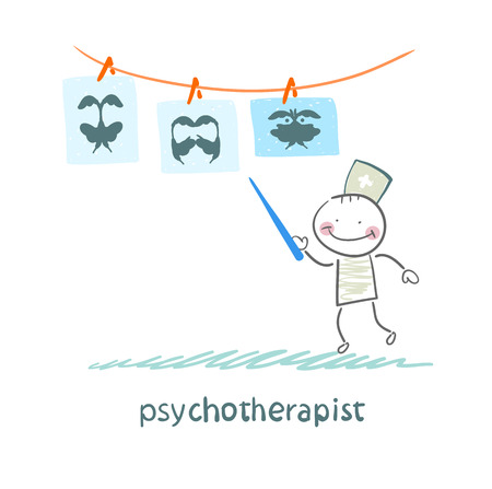 psychotherapist  shows a picture test and standing with syringe Illustration