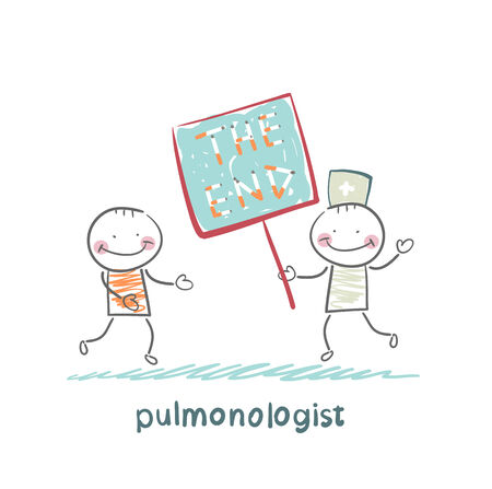 pulmonology: pulmonologist shows the patient a poster of the words  the end