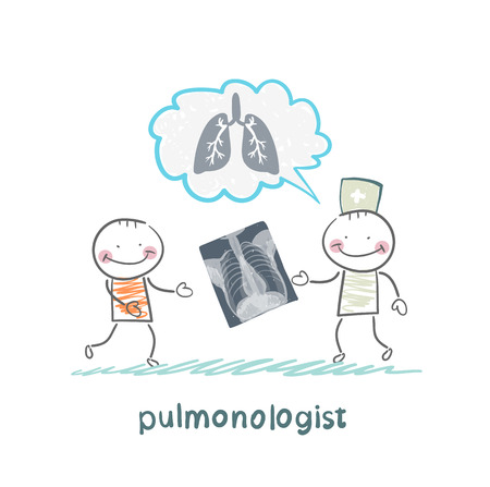 pulmonology: pulmonologist, chest X-ray shows a patient