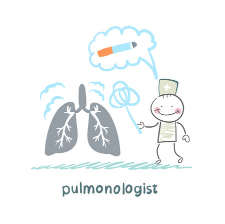 pulmonology: pulmonologist knocks dust from the human lung Illustration
