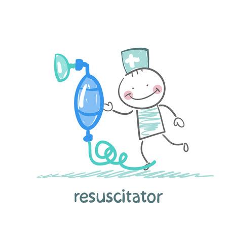 resuscitation with oxygen mask Illustration