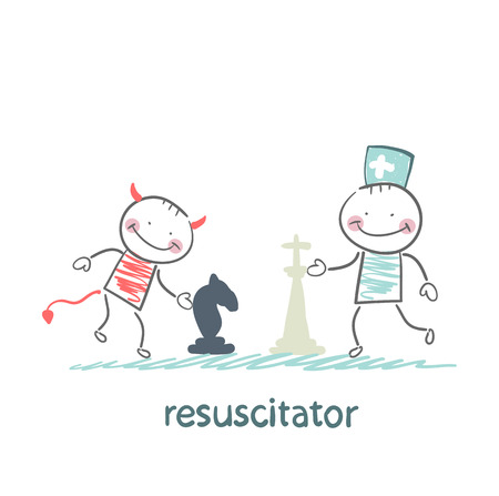 osteoarthritis: resuscitator carry on a stretcher patientresuscitator plays chess with the devil Illustration