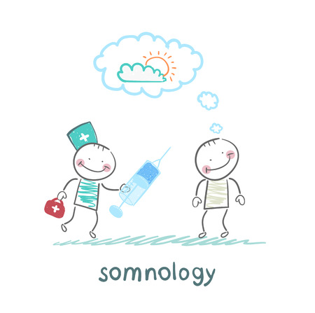 somnology stands next to a syringe with a patient who has fallen asleep Stock Vector - 24125985