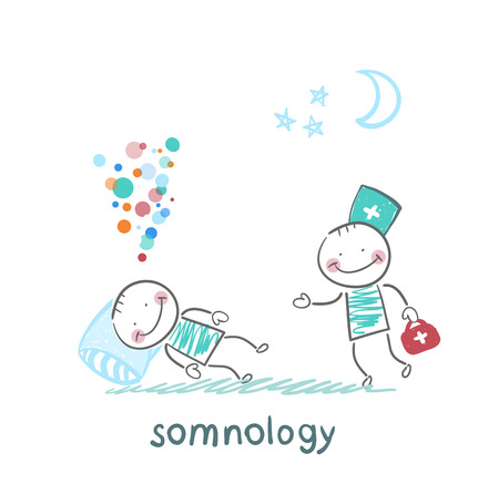 somnology come to a patient who is sleeping on a pillow Illusztráció