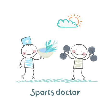 health care protection: Sports doctor gives a healthy meal to the person who holds the dumbbells
