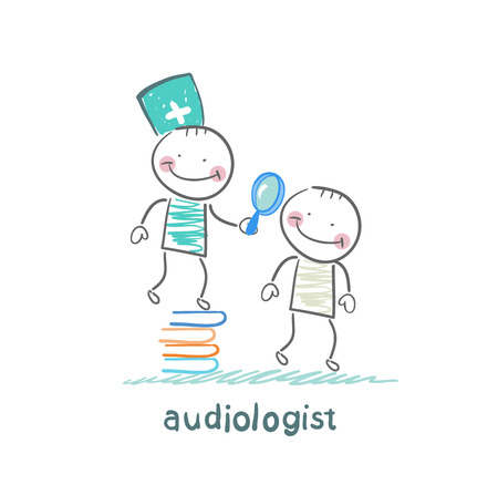 otolaryngologist stands on a pile of books and looking through a magnifying glass on the patients ear Vector