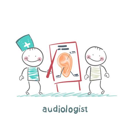 HNO-Arzt zeigt eine Präsentation über das Ohr des Patienten Standard-Bild - 24126051