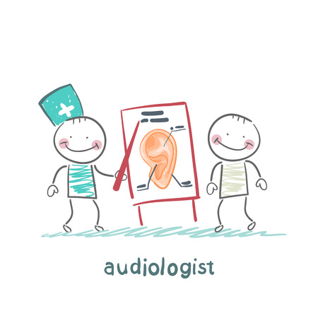 auditory: otolaryngologist shows a presentation about the patients ear Illustration