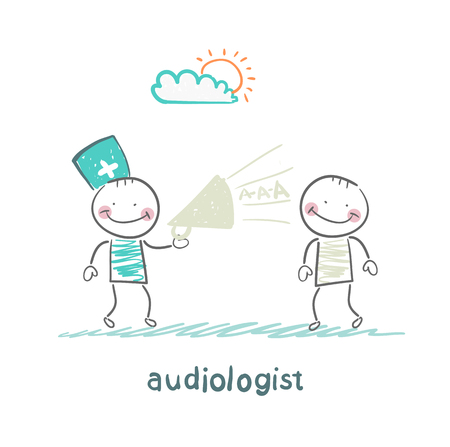 otolaryngologist yells into a megaphone on patient Illustration