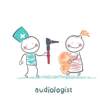 otolaryngologist yells into a megaphone on patient Stock Illustratie